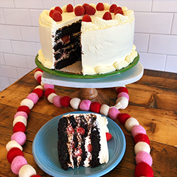 <strong>Chocolate Raspberry Mascarpone</strong> <br>raspberry studded chocolate cake . with mascarpone icing