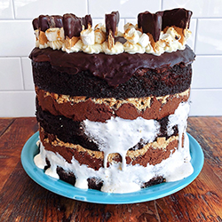<strong>S'mores Cake</strong> <br>Manning's chocolate milk cake . marshmallow creme . graham crackers . milk chocolate buttercream . toasted marshmallows . ganache . chocolate dipped graham crackers