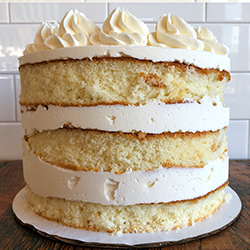 <strong>Basic Butter Cake</strong> <br>white cake with choice of frosting